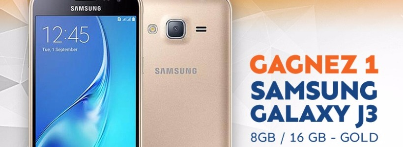 Concours  Jobers – Samsung Galaxy J3 Smartphone – Gold